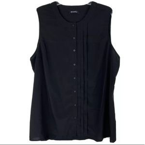 Rebel Tank Sleeveless Pleated Black Button Up Top